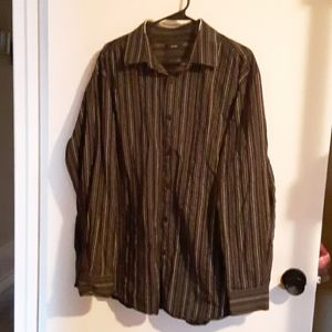 🐶Alfani Black, White, Gray Striped Collar Shirt